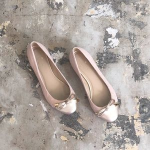 Kate Spade Pink Nude Silver Quilted Bow Flats